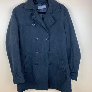 Men's pea coat black suede